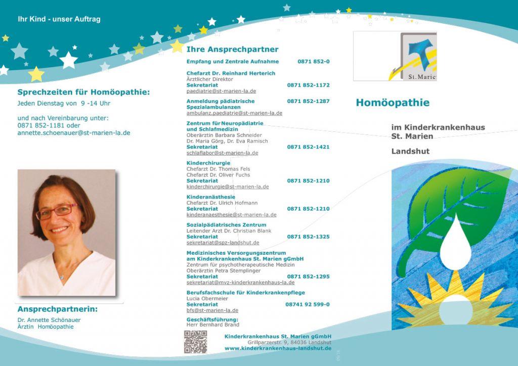 Flyer der Homöopathie am Kinderkrankenhaus St. Marien Landshut: Seite 1